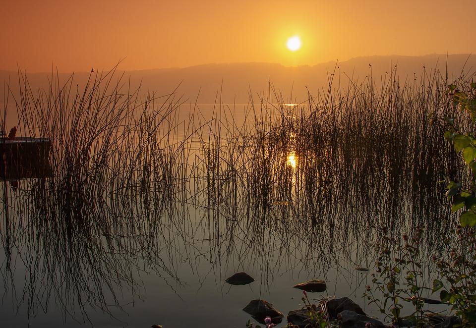 Sunrise, Dawn, Laacher Lake, Rhineland Palatinate