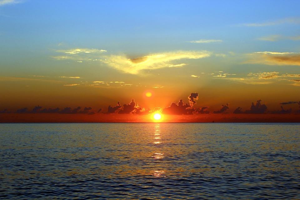 Sunset, Dawn, Sun, Twilight, Sea