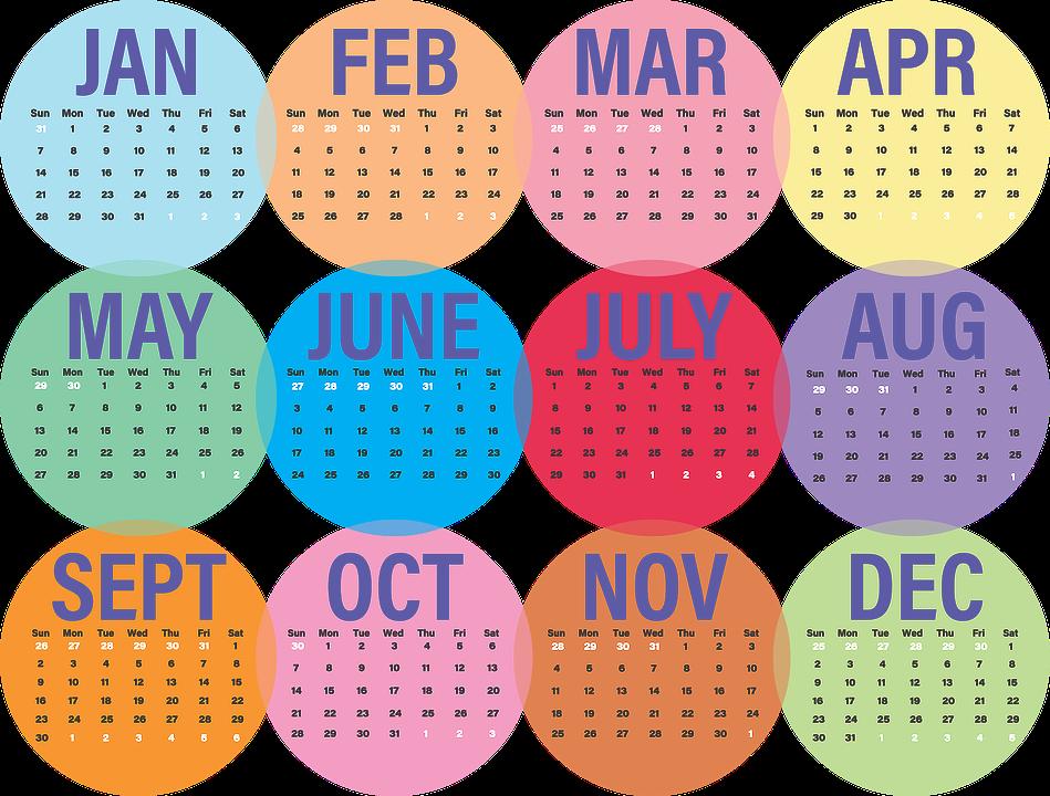 calendar business 2018 week month day january