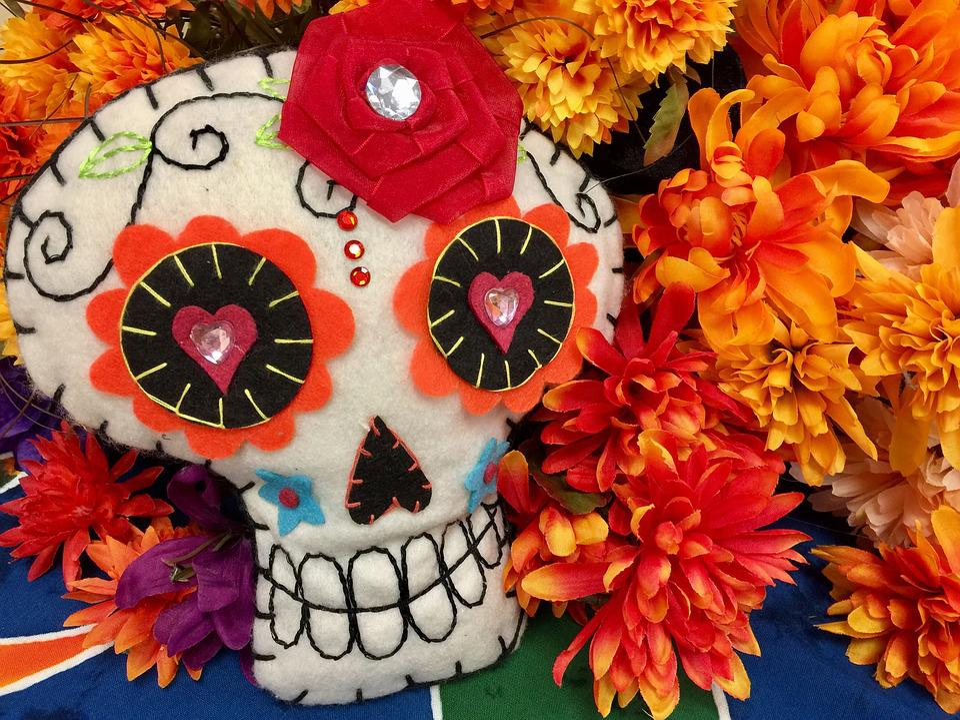 Skull, Day Of The Dead, Marigold, Orange Flowers, Fall