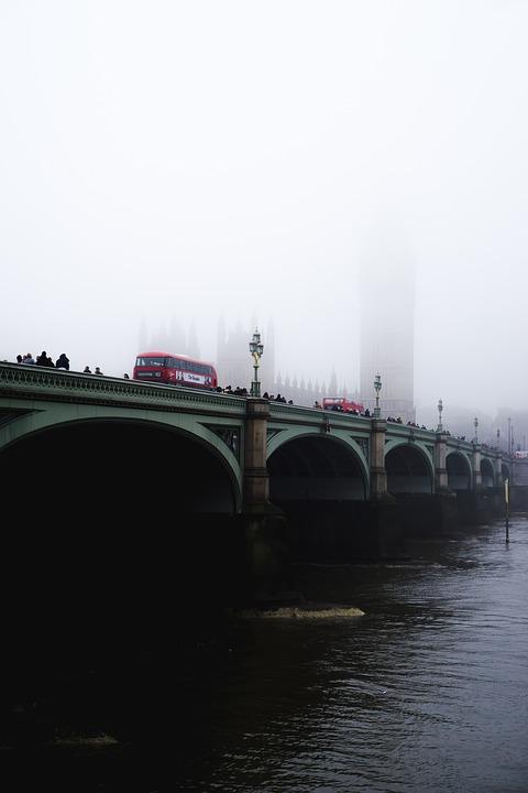 Architecture, Bridge, Buildings, Bus, Daylight, Fog
