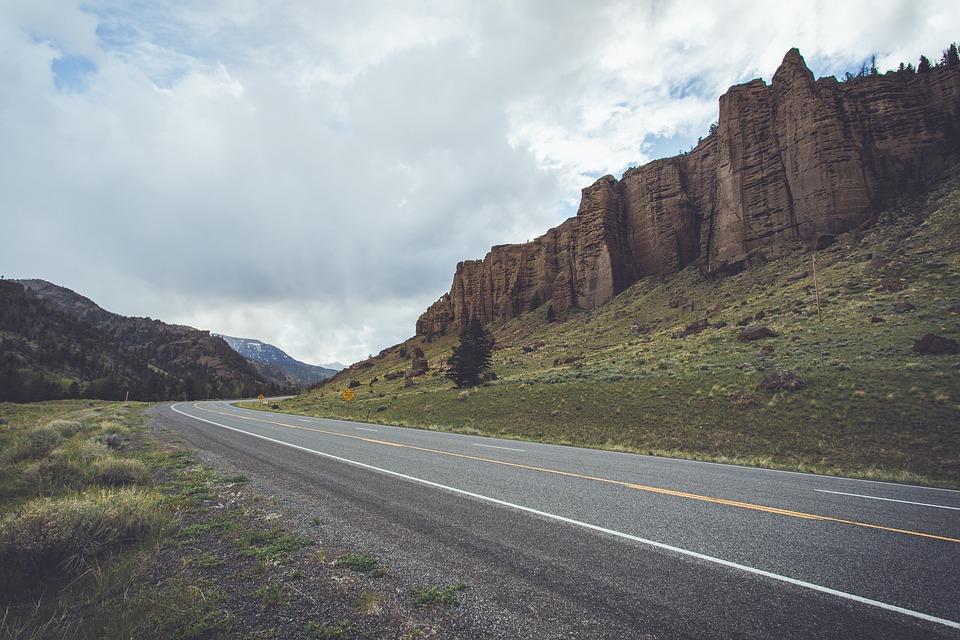 Asphalt, Bushes, Clouds, Daylight, Highway, Hill