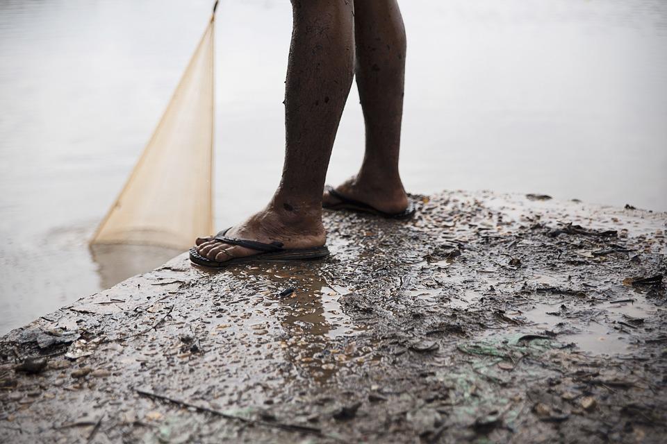 Concrete Surface, Daylight, Dirt, Fish Net, Fishing