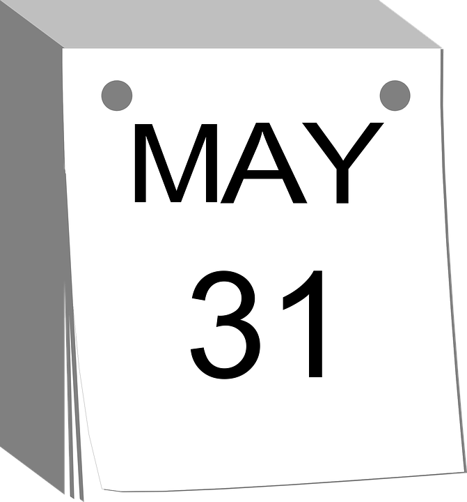 Calendar, Tear-away, Date, Days, May 31