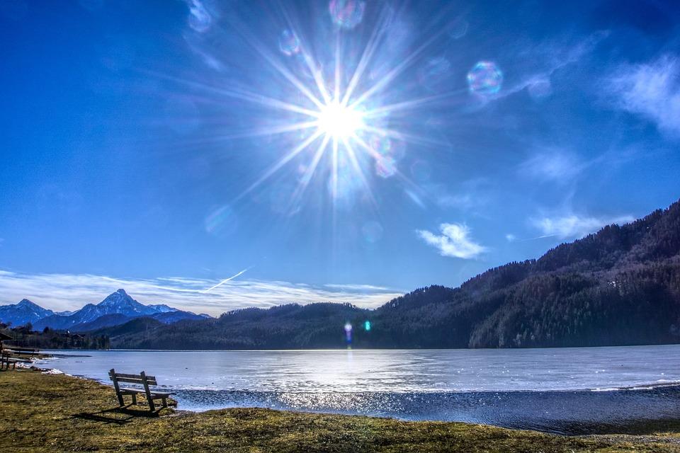 Sun, Backlighting, Dazzling Star, Lake Weissensee
