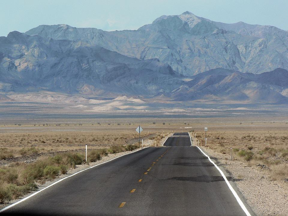 Usa, Death Valley, On The Road, Desert Panorama