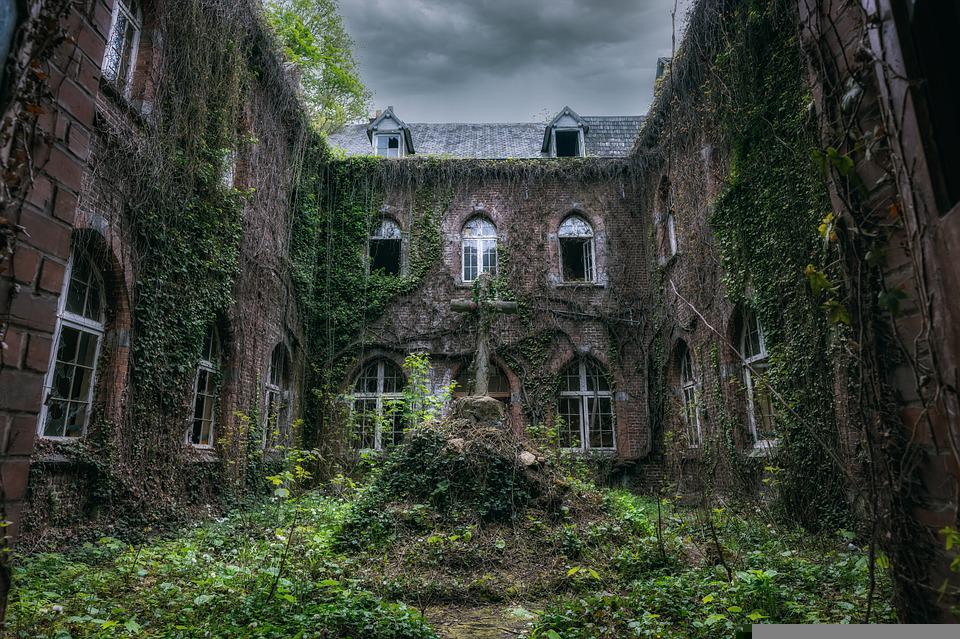 Monastery, Cross, Abandoned, Building, Old, Decay