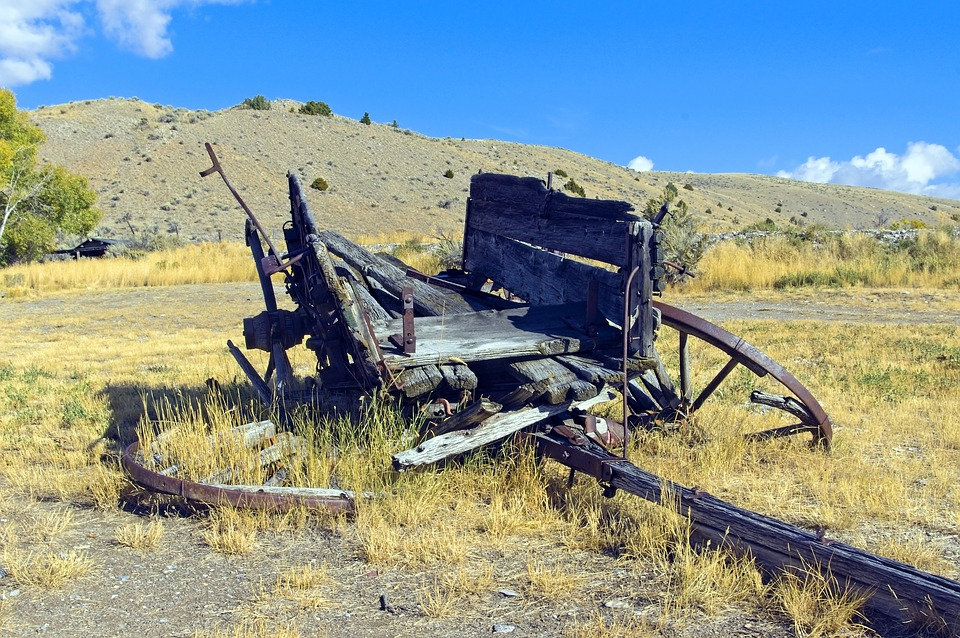 Decaying Wagon, Bannack, State, Park, Ghost, Town