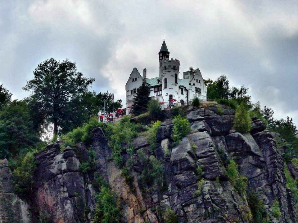 Decin, Castle, Sand Stone, Rock