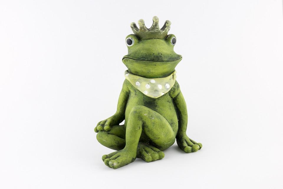 Frog, Frog Prince, Crown, Figure, Deco, Green