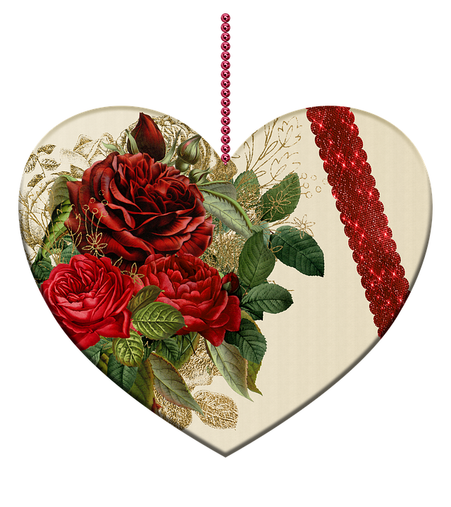 Heart, Roses, Beads, Isolated, Romantic, Love, Deco