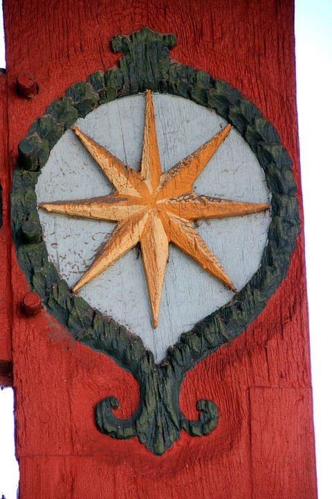 Truss, Fachwerkhaus, Carving, Decor, Star, Gold