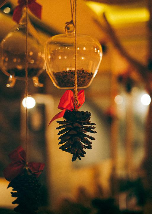 Ornament, Bottle, Pinecones, Decorative, Decor