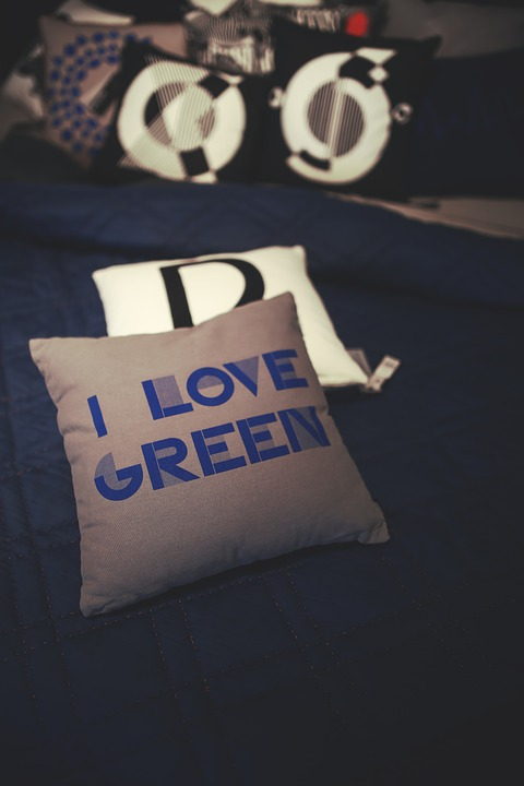 Interior, Design, Decoration, Decor, Pillow, Green