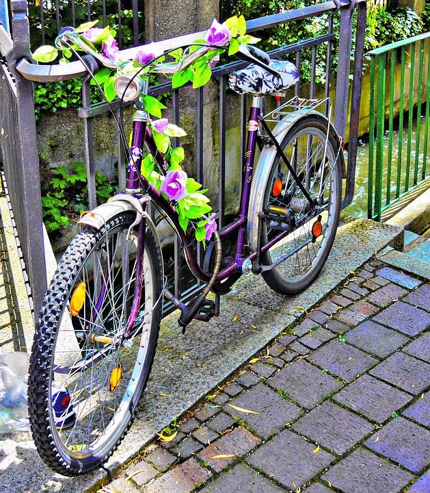 Bike, Augsburg, Decorated, Flowers