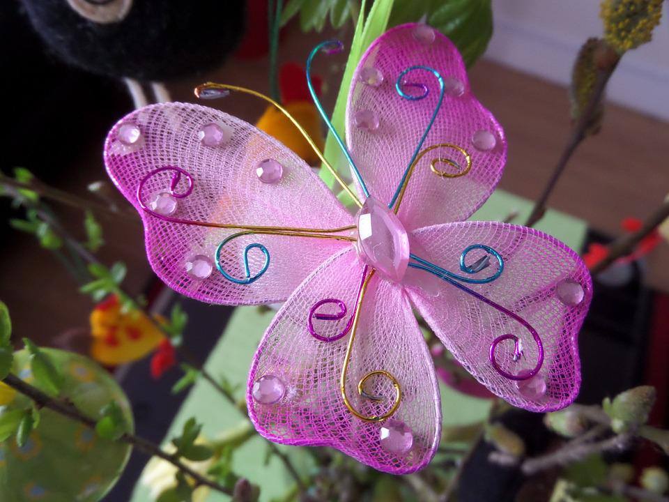 Ornament, Butterfly, Twigs, Violet, Decoration