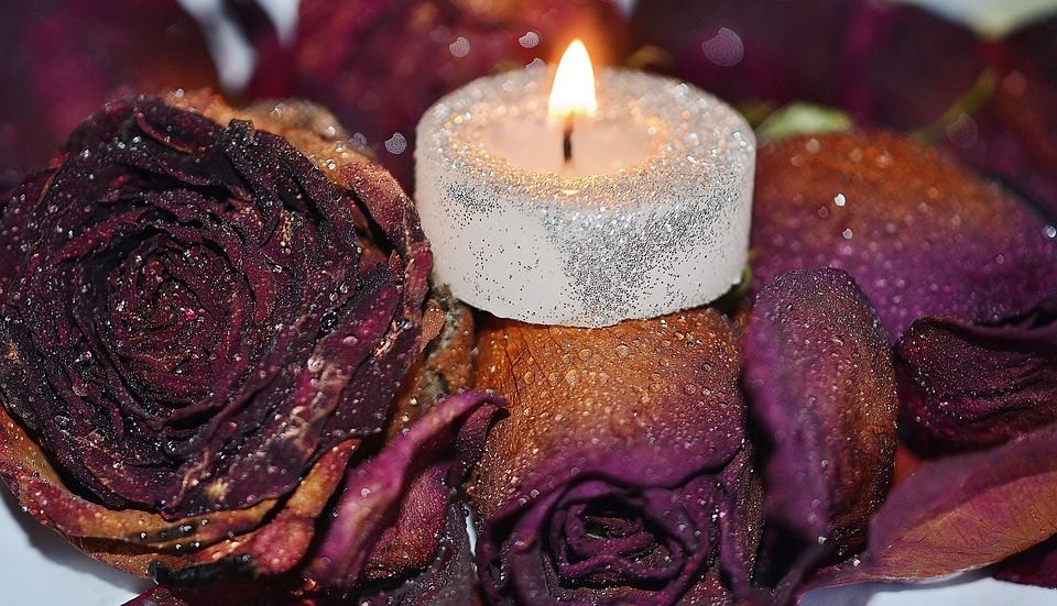 Candle, Red, Decoration, Wax, Romantic, Soft, Roses
