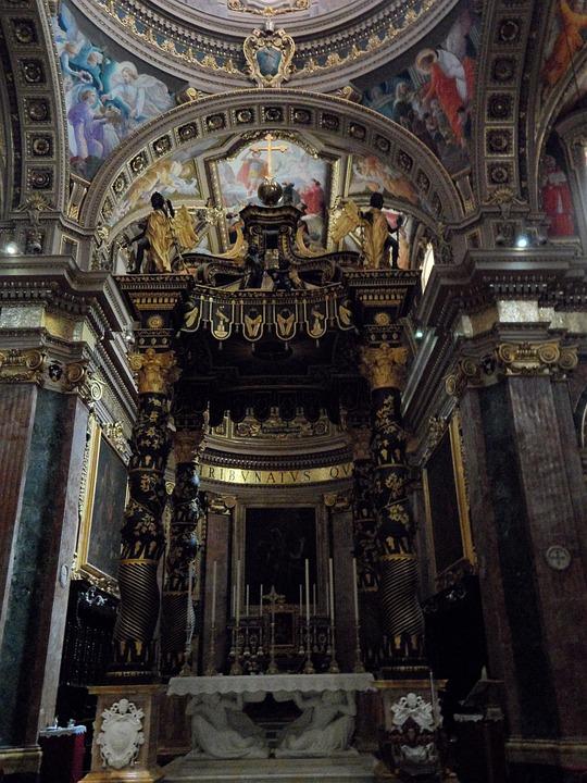 Pompous, Altar, Church, Interior, Catholic, Decoration