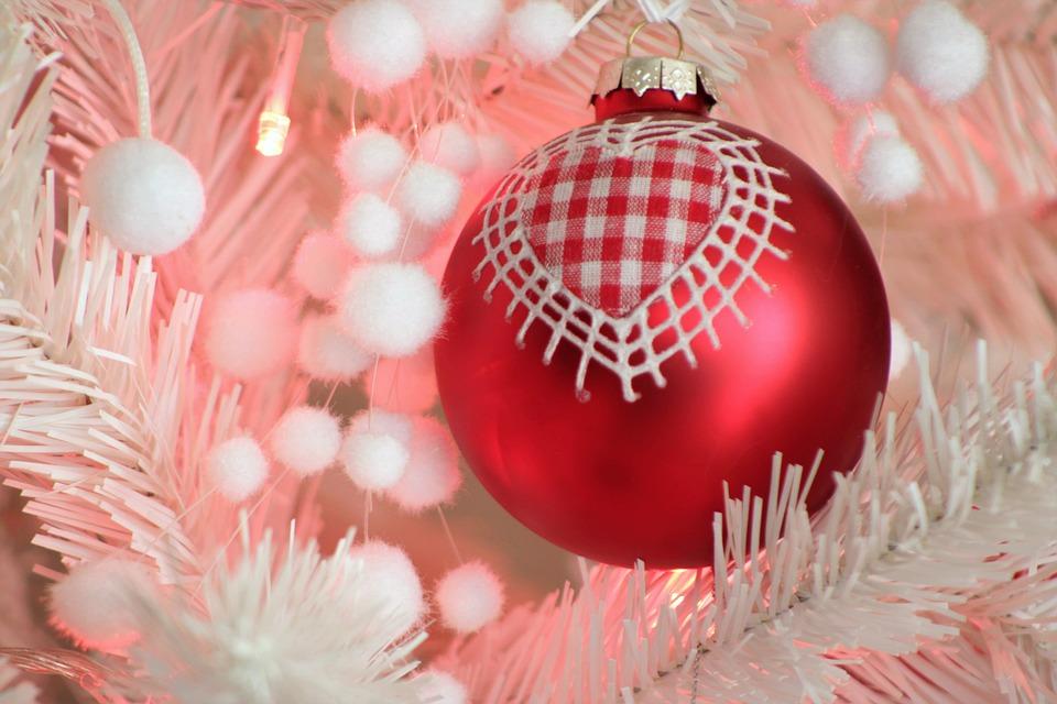 Christmas Background, Christmas Tree, Heart, Decoration