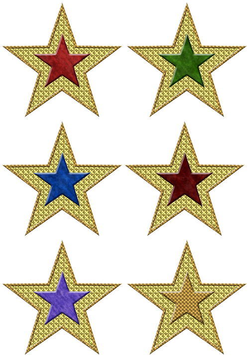 Star, Isolated, Christmas, Decoration, Colorful, Gold