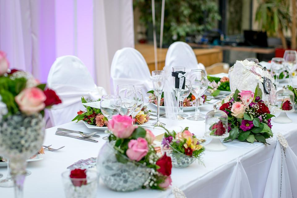 Dinner, Table, Event, White, Roses, Decoration, Seats