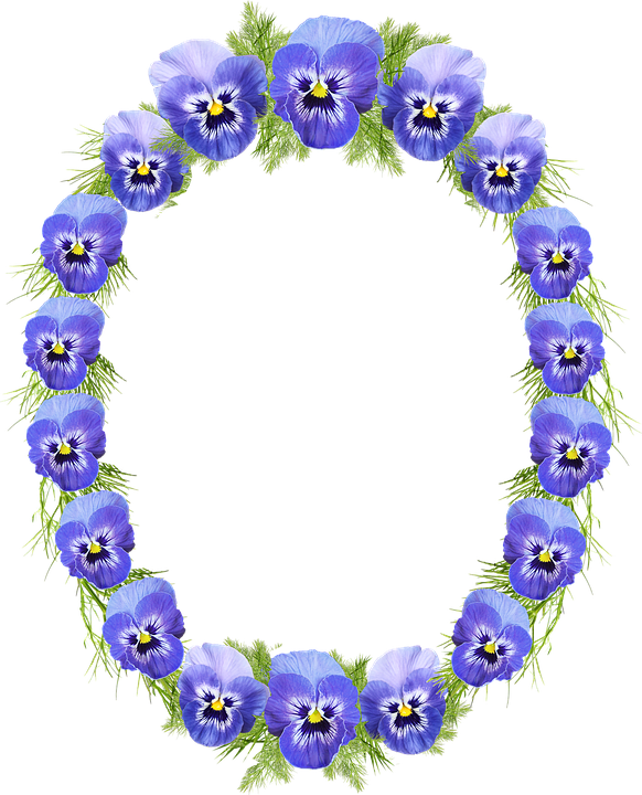 Frame, Wreath, Pansies, Floral, Decoration
