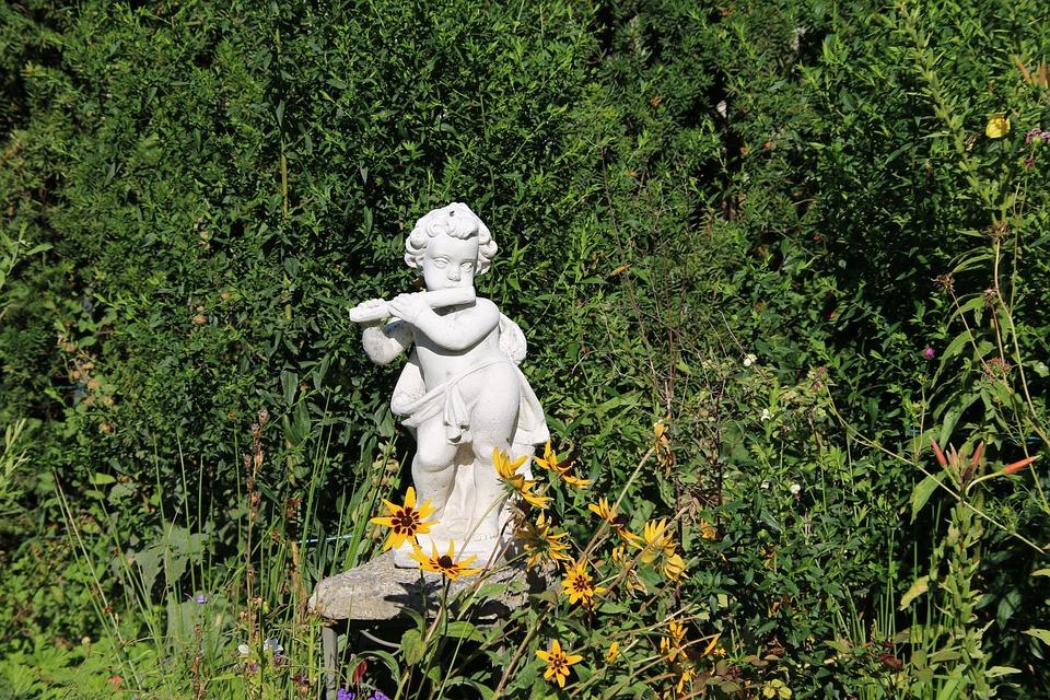 Gartendeko, Figure, Flautist, Decoration, Sculpture