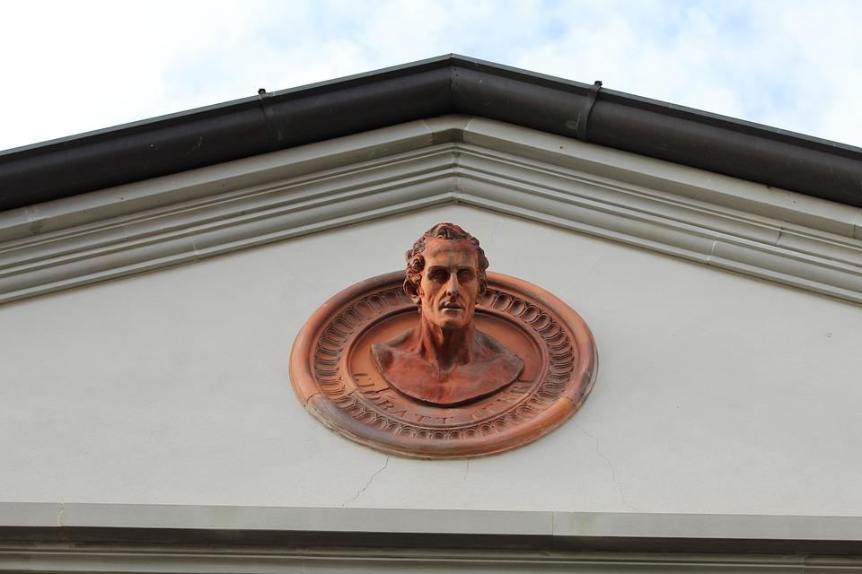 Bust, Statue, Decoration, House, Roof, Downpipes