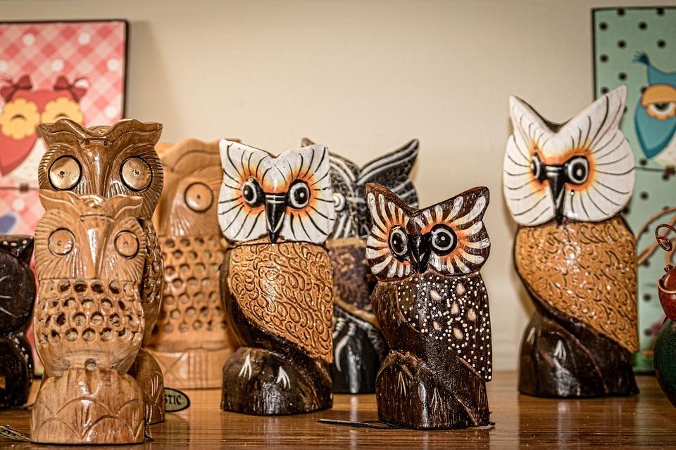 Owl, Wood, Bird, Decoration, Shelf, Lanzarote