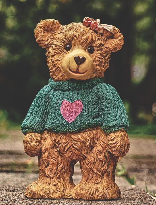 Teddy, Sweater, Heart, Figure, Love, Cute, Decoration