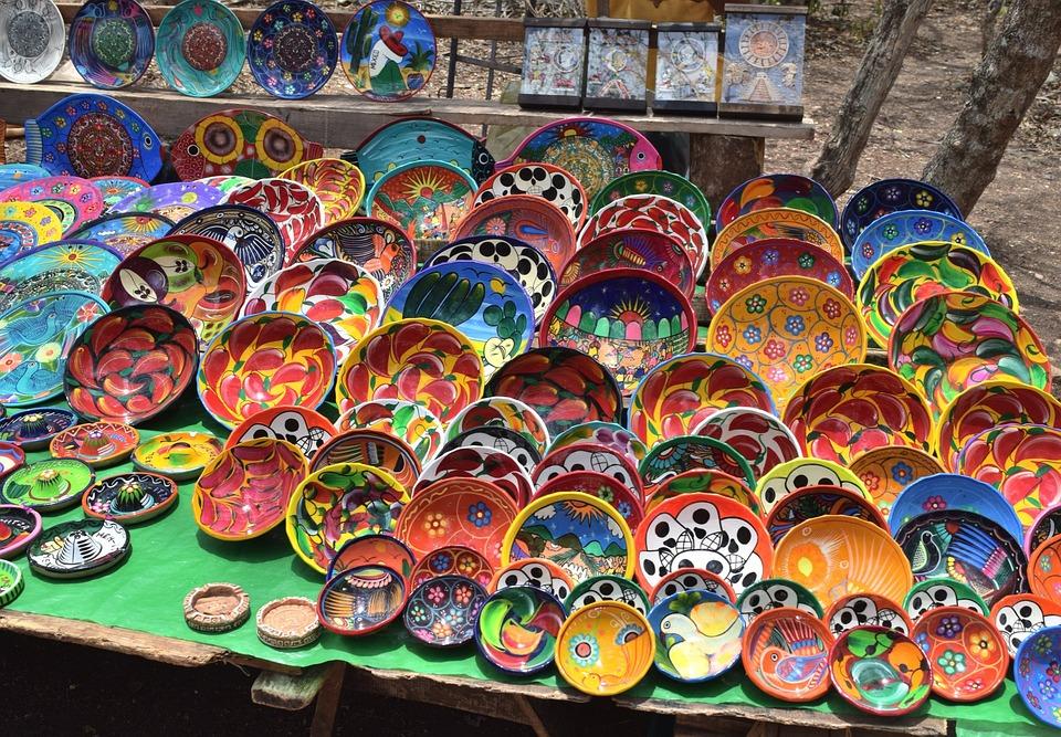 Plates, Market Stall, Mexio, Decoration, Handicraft
