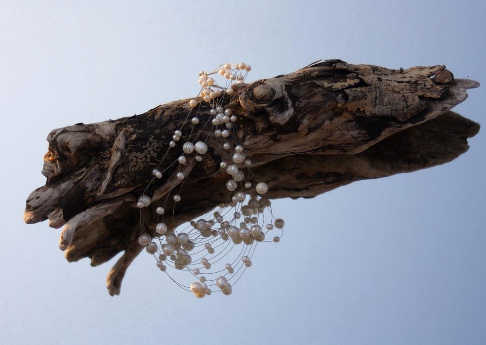 Drift Wood, Beads, Decoration, Blue, Mirror, Jewellery
