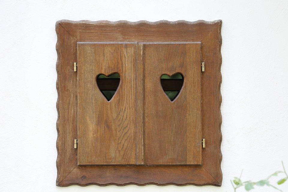 Wooden Windows, Hearts, Cabin, Old, House, Decoration