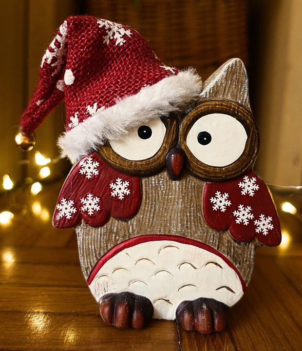 Owl, Christmas, Wood, Cute, Decoration, Funny, Deco