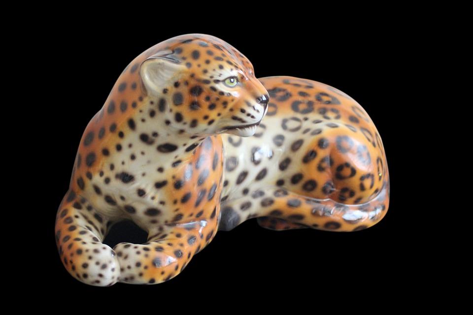 Cheetah, Porcelain, Fig, Decoration