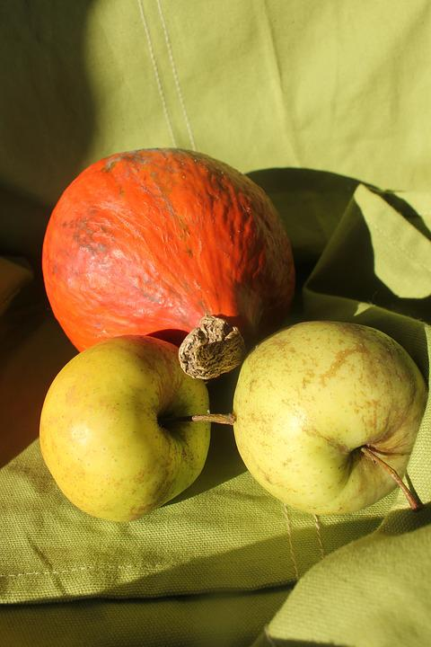 Pumpkin, Apple, Fruits, Autumn, Decoration