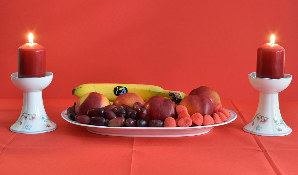 Fruit Plate, Candlelight, Romance, Candle, Decoration