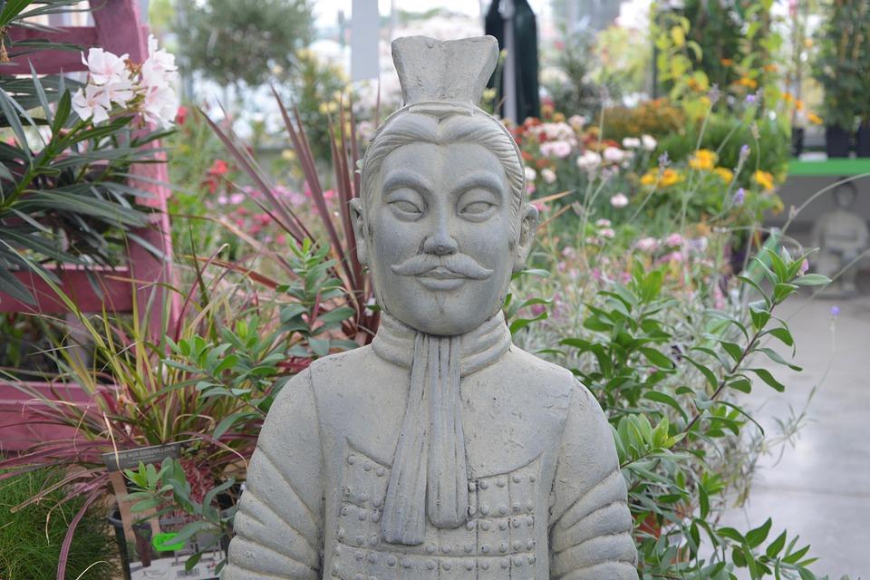 Decoration, Statue, Chinese Warrior, Stone, Garden