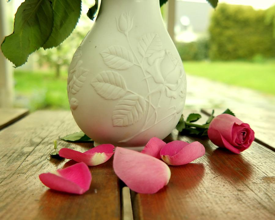 Rose, Vase, Table, Bloom, Decoration, Flower Vase