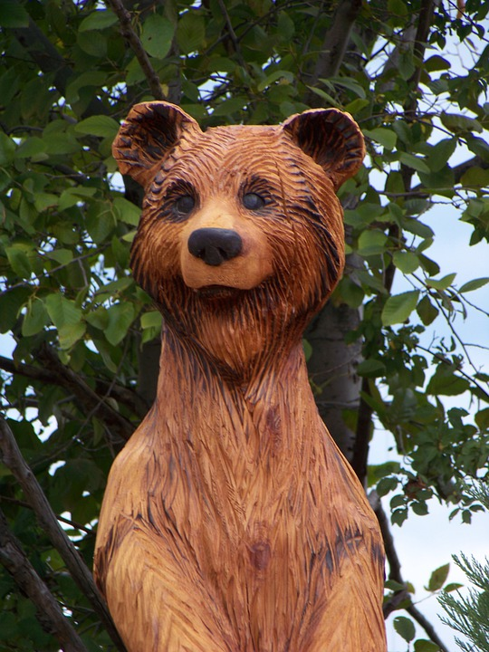 Bear, Wooden, Statue, Carving, Teddy, Wood, Decoration