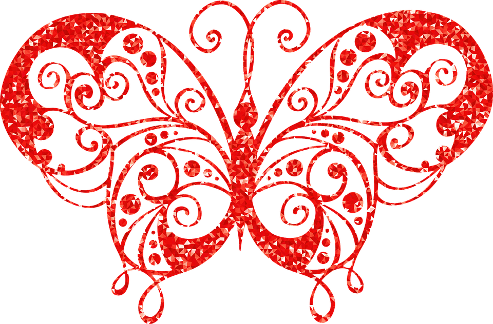 Butterfly, Ruby, Abstract, Animal, Art, Decorative