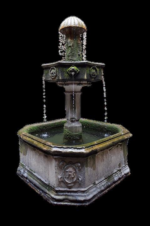 Fountain, Source, Water, Garden, Old, Stone, Decorative