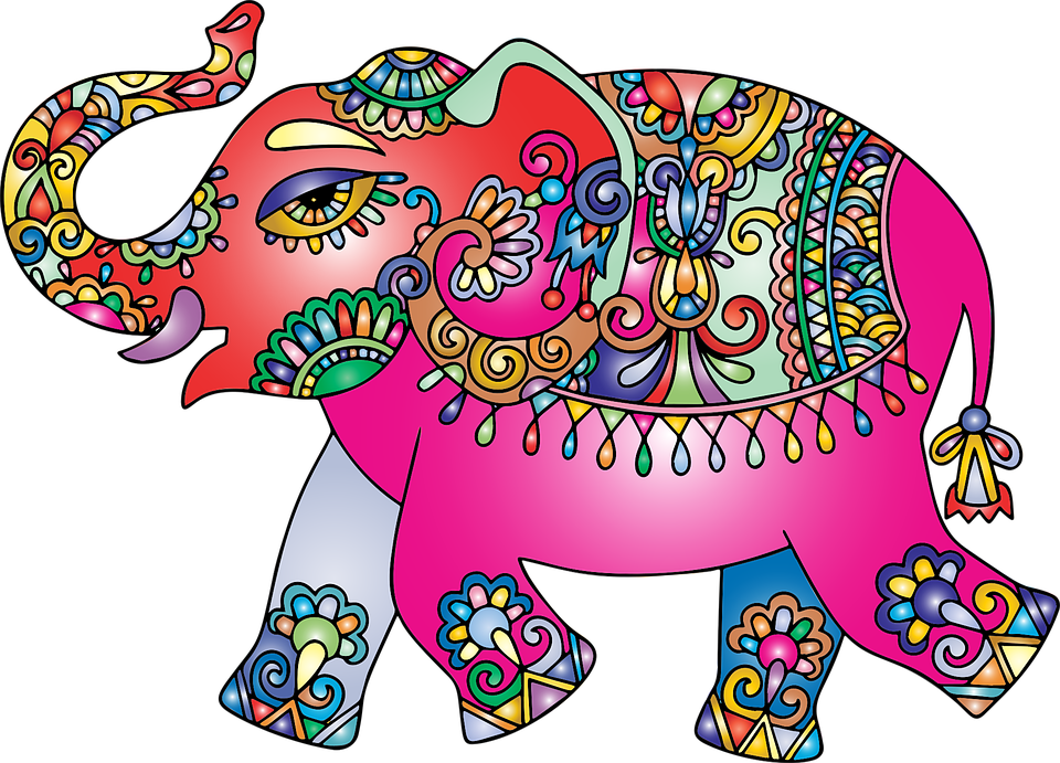 Elephant, Pachyderm, Animal, Decorative, Ornamental