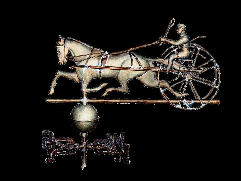 Weather Vane, Decorative, Horse, Two Wheeled Cart