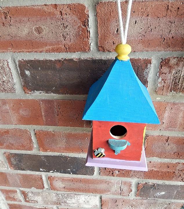 Bird House, Wood, Terra Cotta Wall, Decorative