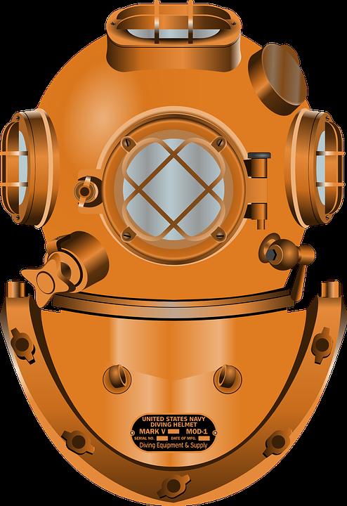 Diving Helmet, Diving, Deep, Marina, Navy, Ocean, Sea