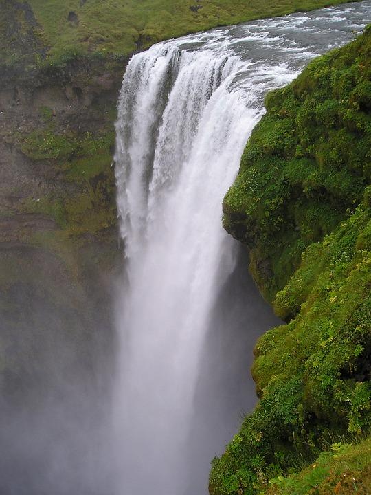 Waterfall, Force, Deep, Iceland