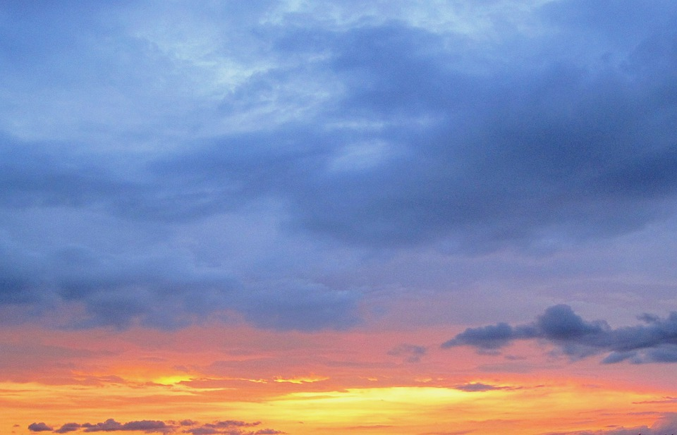Sunset, Blue, Peachy-orange, Deep Yellow, Sky, Clouds