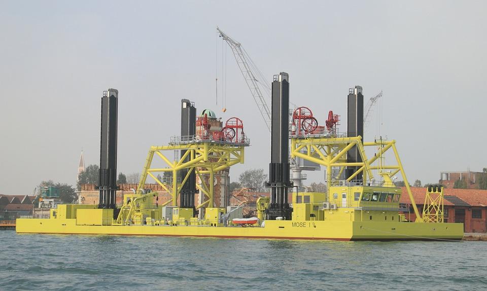 Italy, Venice, Barge, Construction, Defense, Flood