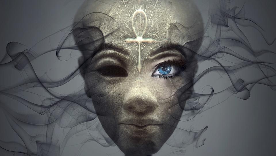 Fantasy, Portrait, Egypt, Ankh, Face, Deity, Eye, Stone